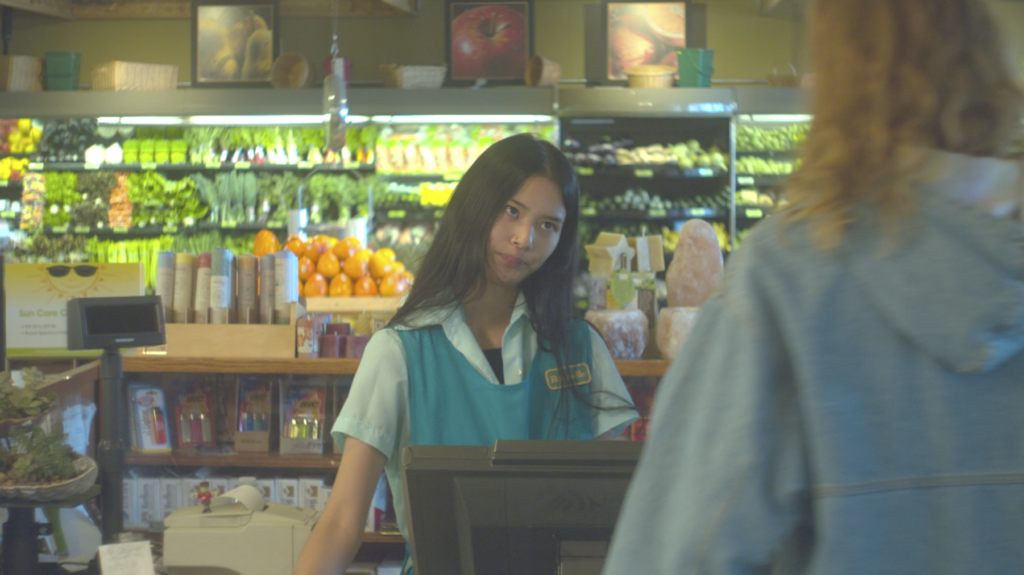Screen grab from Dome Zone showing supermarket check out girl looking annoyed as the main character purchases moss.