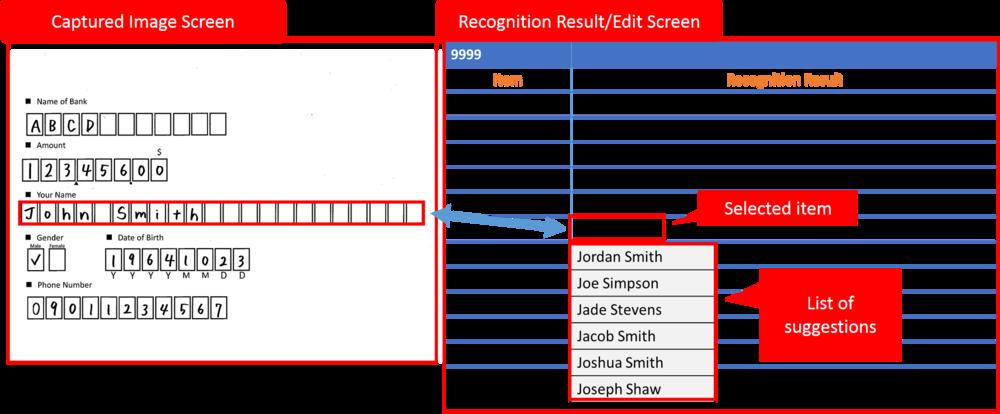 Prexifort-OCRはイメージと認識結果を同一画面上で確認・修正可能です。