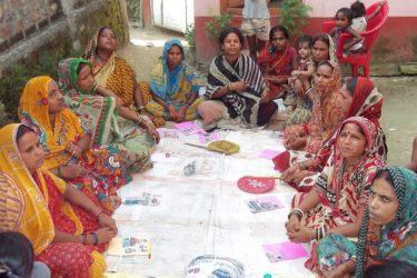 Women participating in Sharma's workshop on child marriage.