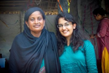 Garima Sharma, right, with a mother who participated in a workshop on child marriage Sharma led in Forbesgani, India.