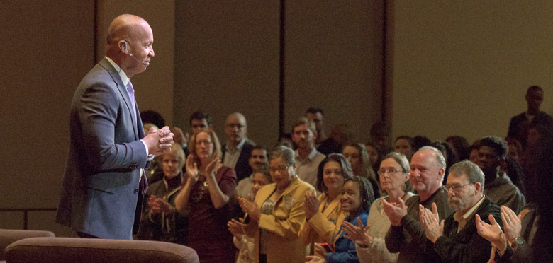 Bryan Stevenson receives a standing ovation