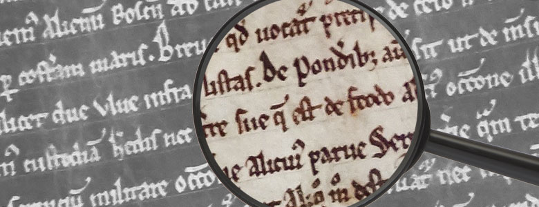 Magnifying glass over text of the Magna Carta