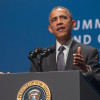 Barack Obama at podium / Photo: L.A. Cicero