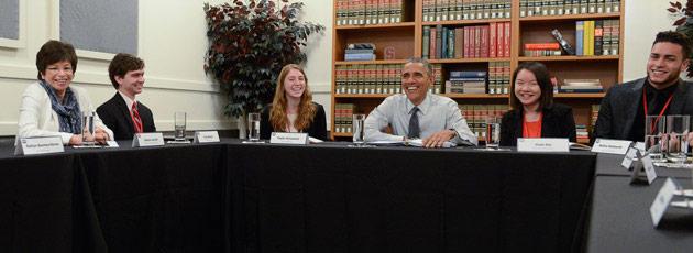 Stanford students meet President Obama