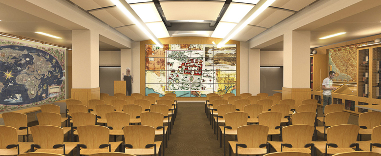 Architectural rendering of the David Rumsey Map Center