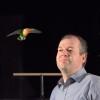Lovebird flies near Prof. Lentink
