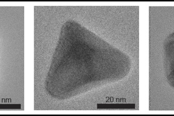 nanoparticles in three different shapes: cube, pyramid, icosahedron