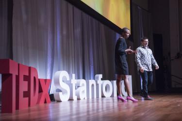 Stanford d.school Lecturer Emi Kolawole and TEDxStanford co-organizer David Hornik host TEDxStanford. (Photo: L.A Cicero)