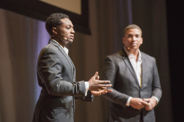 """Student body Vice President Brandon Hill and President John-Lancaster Finley speak on """"Activism in a PC World."""" (Photo: L.A Cicero)"""