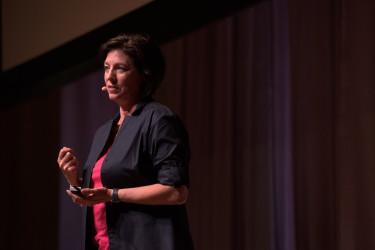 "Professor of mathematics education, Jo Boaler, delivering her talk ""You Aren't Bad At Math."" (Photo: Tamer Shabani)"