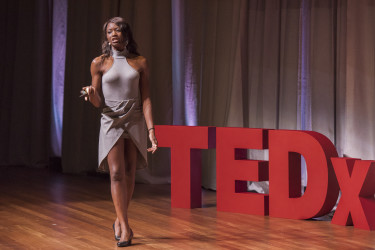 """Second-year MBA student Chika Okoro gives her talk entitled """"Colorism."""" (Photo: L.A Cicero)"""