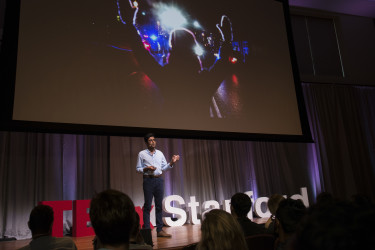 """Salil Dudani is an investigator at a civil rights organization that litigates inequalities in the criminal legal system. He gives his talk titled """"Equal Justice Under Law."""" (Photo: Tamer Shabani)"""