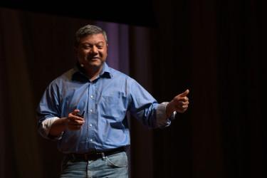 """Professor ArunMajumdar speaks on """"The Most Important Innovation of the 21st Century."""" (Photo:TamerShabani)"""