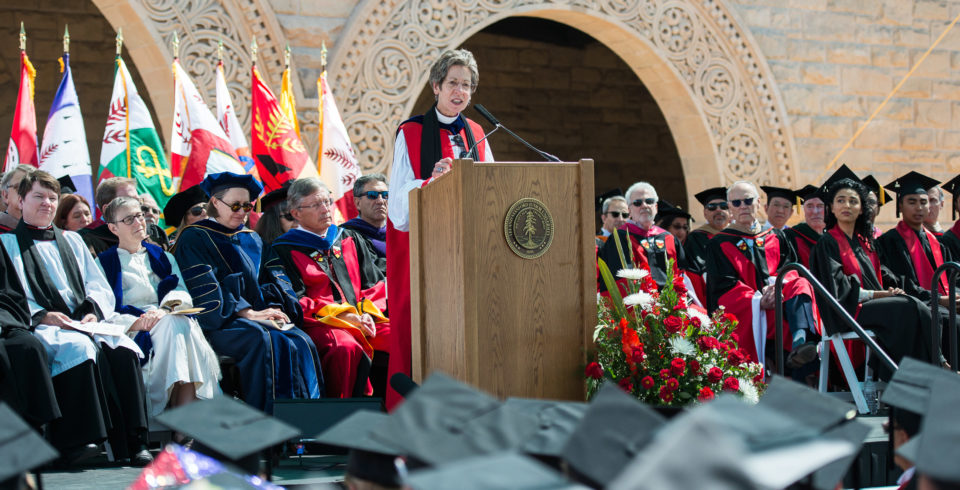 The Most Rev. Dr. Katharine Jefferts Schori gives her address at Stanford University's 2016 Baccalaureat celebration