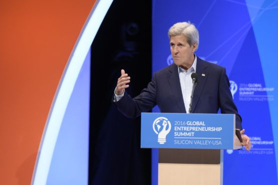 US Secretary of State John Kerry at lectern in Memorial Auditorium, Stanford, speaking at 2016 GES