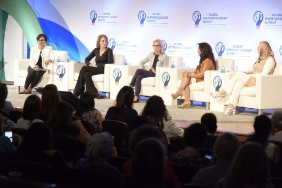 Women's Entrepreneurial Leadership panelists (left to right) Penny Pritzker, Ruth Porat, Ann H. Lamont, Nina Vaca, Nermin S'ad