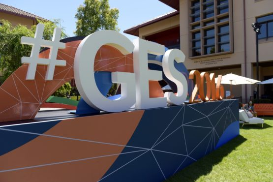 giant hashtag display #GES2016