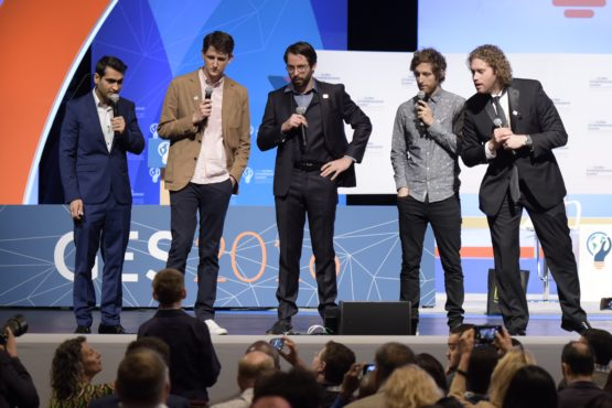 Cast members of TV show Silicon Valley interact with a child entrepreneur in the audience at Memorial Auditorium