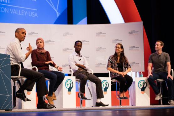 President Obama, three young entrepreneurs and Facebook founder Mark Zuckerberg.