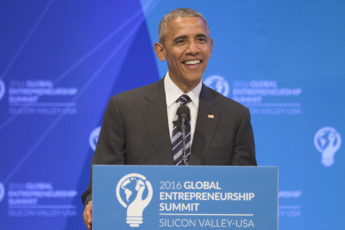 Barack Obama at lectern in Memorial Auditorium at GES 2016