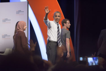 Mai Medhat, Barack Obama and Mark Zuckerberg departing the stage