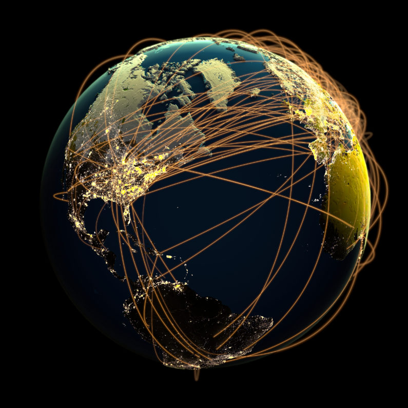 3D rendering of global communications network