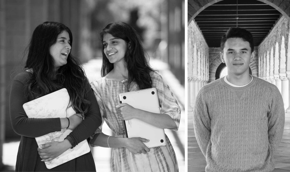 Portraits of Akhila Moturu, Aashna Shroff, and John Kamalu