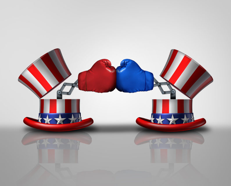 Illustration of red,white and blue hats with red and blue boxing gloves.