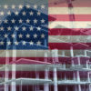 Illustration of an American flag superimposed on construction site.