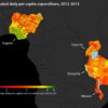 Estimates of per capita consumption in four African countries. Stanford researchers used machine learning to extract information from high-resolution satellite imagery to identify impoverished regions in Africa.