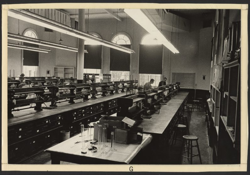 historic photo of chemistry classroom