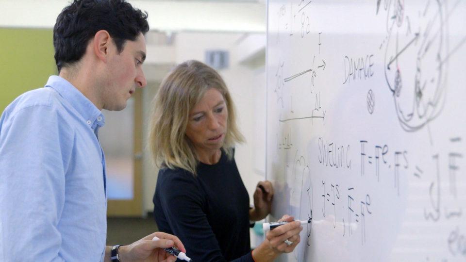 Postdoc Johannes Weickenmeier and Professor Ellen Kuhl