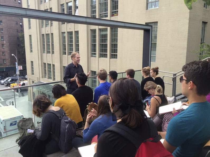 Lecturer Scott Francisco speaks to students on the High Line.