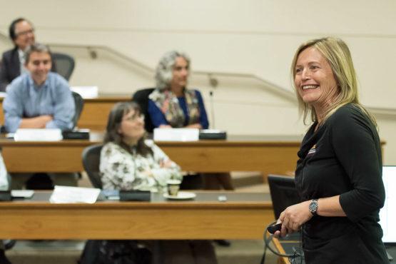 Margot Gerritsen in front of the Faculty Senate