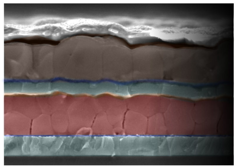 Cross-section of new tandem solar cell