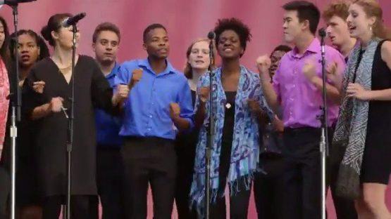 Student a cappella group Talisman sang Amazing Grace.