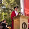 President Marc Tessier Lavigne addresses the University community during his inauguration speech.