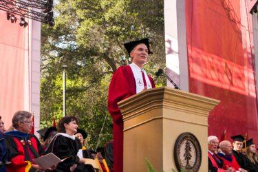 President Marc Tessier Lavigne addresses the university community during his inauguration speech.