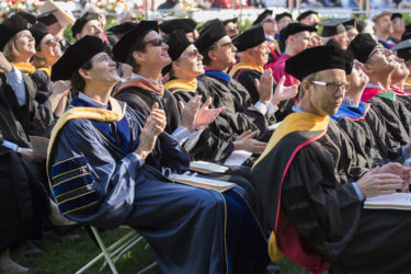 Members of the faculty attend the inauguration of their new president in Frost Amphitheater.
