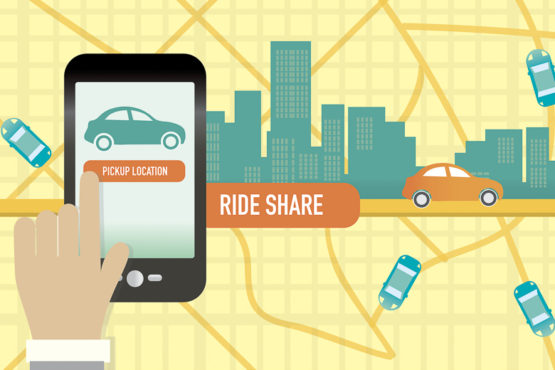 Urban city Rideshare or commuting mobile phone app concept.