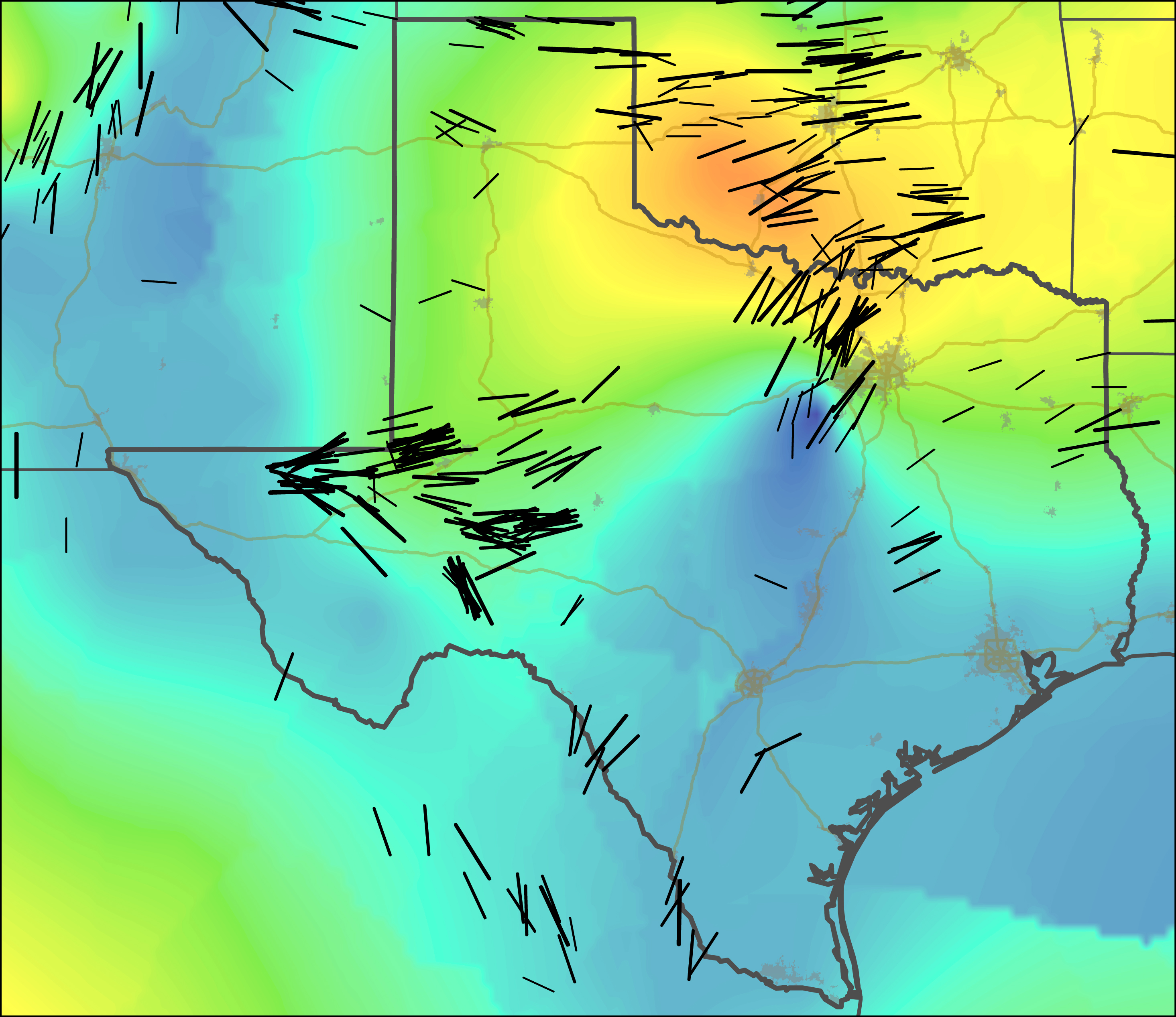 Stress maps of Texas and Oklahoma, with black lines indicating stress orientation