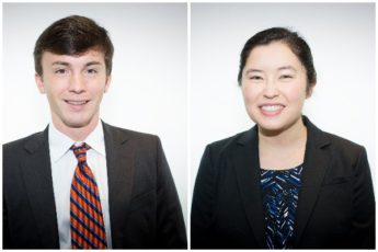 Clay Garner and Kim Chang, portrait photos side by side