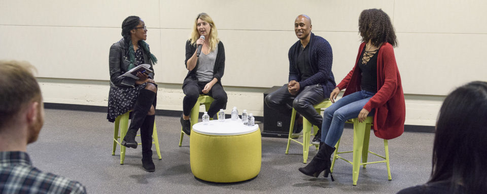 Art is my Occupation, Q&A with Mic Check co-hosts Frannie Kelley and Ali Shaheed Muhammad. Student interviewers junior Sojourner Ahébée, left, and senior Jess Spicer, right.