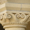 Architectural details of the sandstone arcades in the Main Quadrangle of Stanford University.