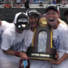 Members of Cardinal Women's Tennis with NCAA trophy
