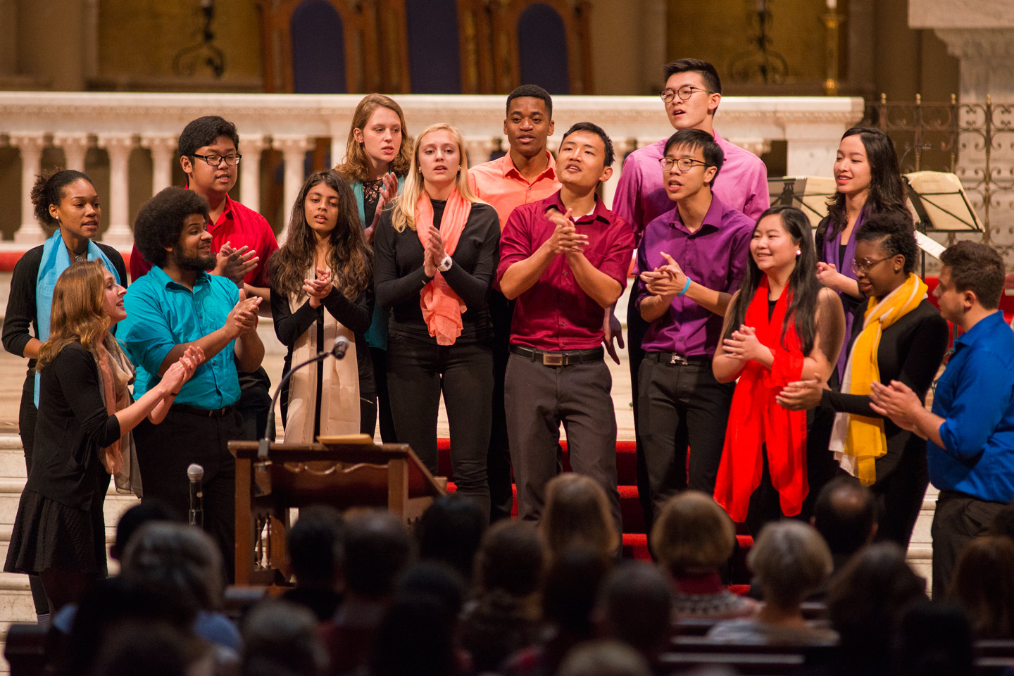 Talisman A Cappella sing in Memorial Church at community gathering on Inauguration Day