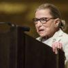 Ruth Bader Ginsburg speaking at a podium