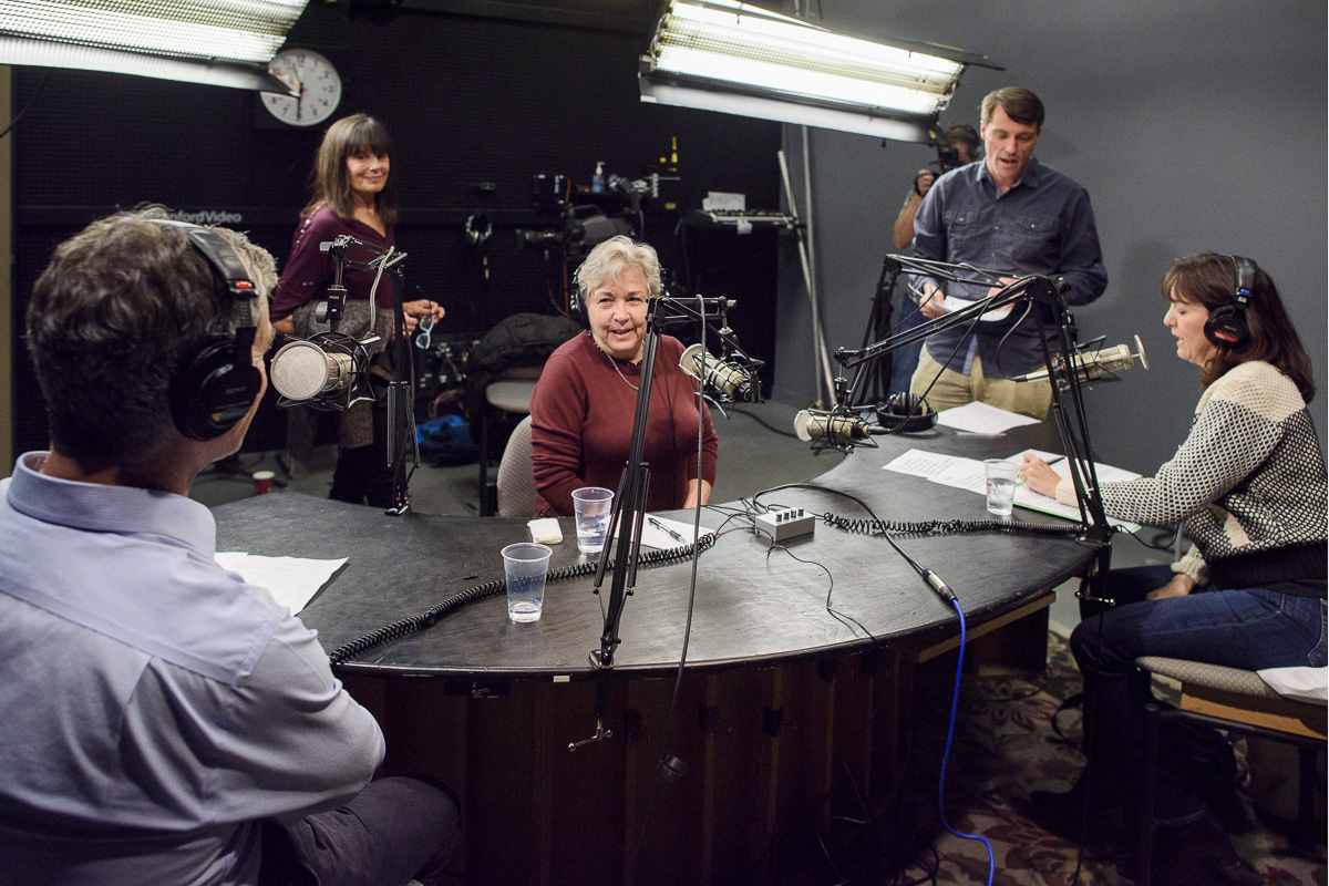 Co-hosts Dan Schwartz, dean of the Graduate School of Education, and senior lecturer Denise Pope interview education Professor Emerita Rachel Lotan for the School's In radio program.