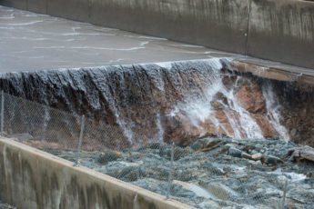 eroded concrete section of spillway at Oroville Dam