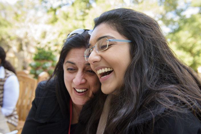 Dhruti Vasavada and her daughter Vrinda share a laugh after lunch at Lagunita.